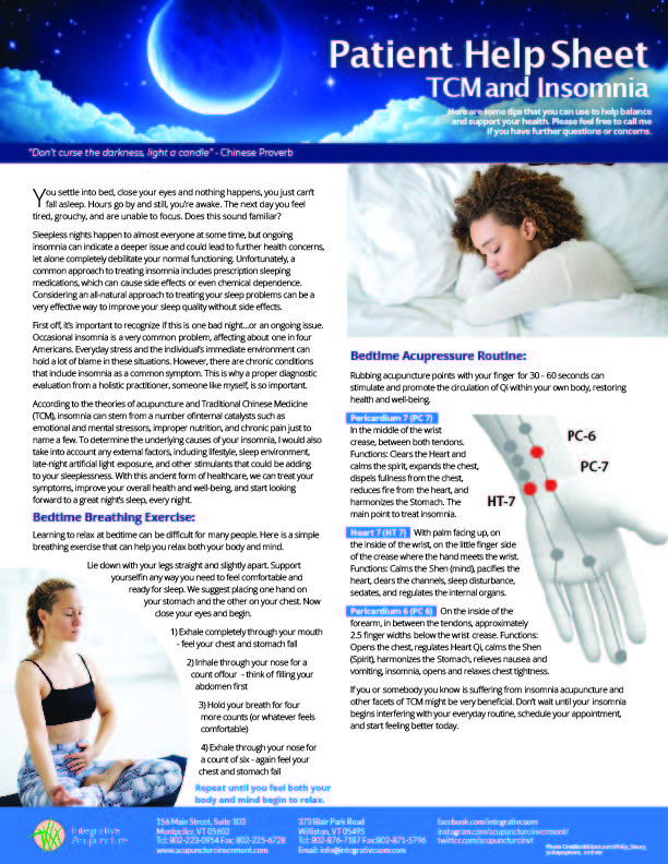 Insomnia Help Sheet