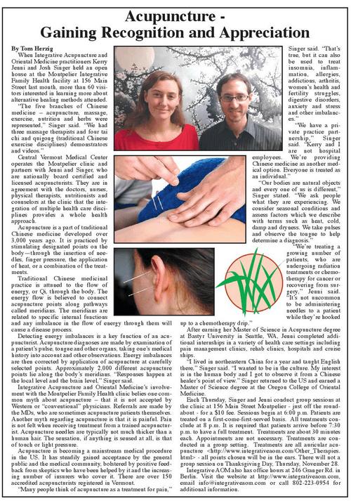 Vermont Acupuncture News